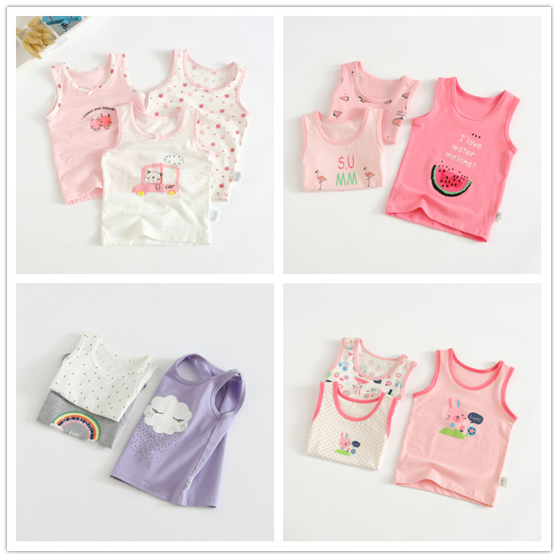 VIDMID Baby Girls tanks tops girls cotton Camisoles vests girls new candy color kids underwear Tanks Camisoles clothes 7068 01 1