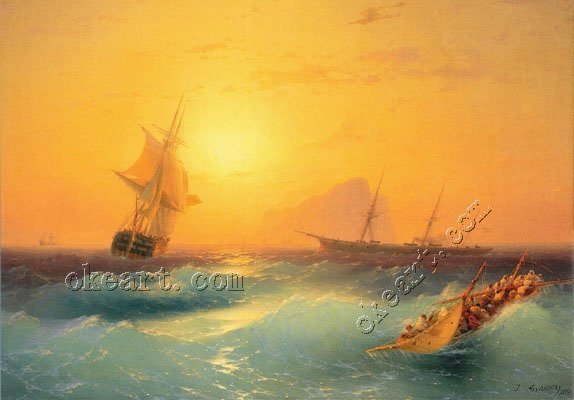 """Free shipping American Shipping off the Rock of Gibraltar-print Art 12x16"""" 12x16"""""""