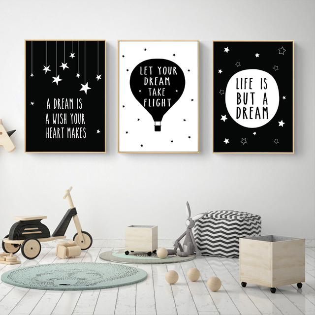 Delightful Cartoon Motivational Quote Posters And Prints Black White Canvas Art  Painting Wall Art Pictures Baby Kids