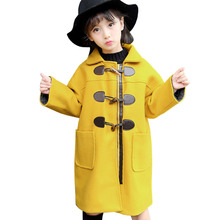 Kids Woolen Coat Cute Horns Buckle Jacket Autumn Winter Children's Padded Woolen Coats Baby Clothings Outerwear