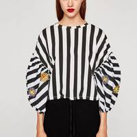 OYK6088 Za Actumn Women Foral Embroideried Ruffles Loose Striped Blouses Pullover Shirt Womens Camisa Loose Blusas