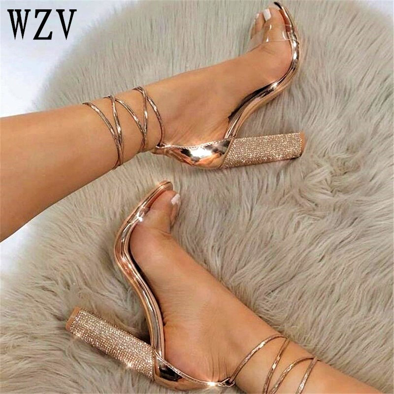 Big size34 43 Women Heeled Sandals Bandage Rhinestone Ankle Strap Pumps Super High Heels 11 CM Square Heels Lady Shoes