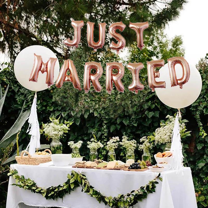 Leeiu 11 Pçs/set 16 Polegada Apenas Casado Balões Foil Balões Decoração De Casamento Rosa de Ouro Decoração Fontes Do Partido Do Chá de Panela