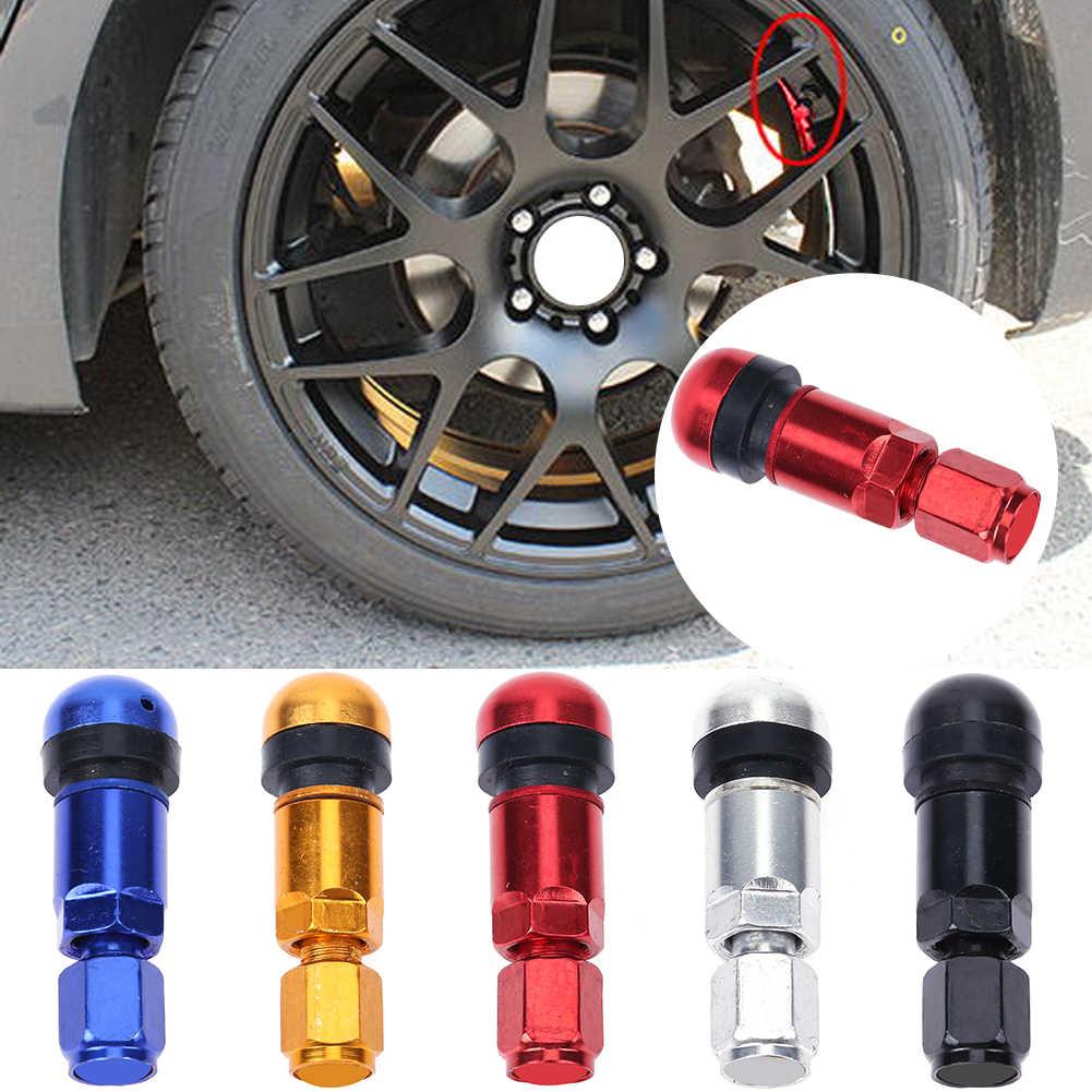 red 4Pcs Aluminum Alloy Spike Wheel Tire Valve Stem Car Truck Air Dust Caps Covers Wheel Valve Stem Auto Wheel Tyre Dust Stems Cover