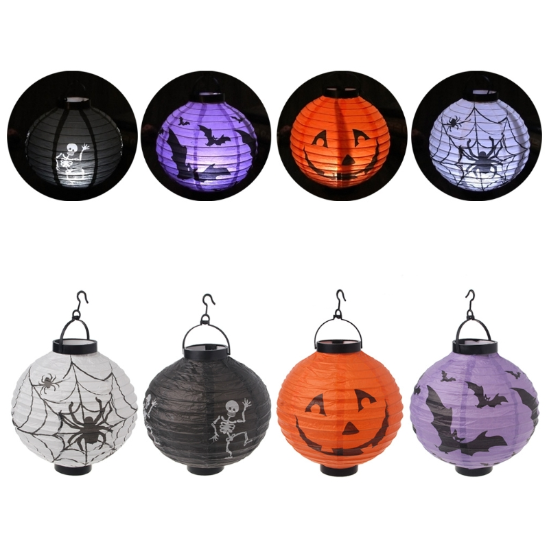 Halloween Decoration Paper LED Lantern Hanging Pumpkin Spider Lamp Party Home Props