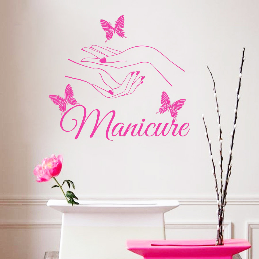 buy e139 beauty hair salon nail art manicure butterfly hands wall stickers. Black Bedroom Furniture Sets. Home Design Ideas
