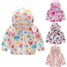 Children's summer sun protection jacket children's fashion printing dinosaur love O-neck cotton hooded jacket zipper casual top(China)