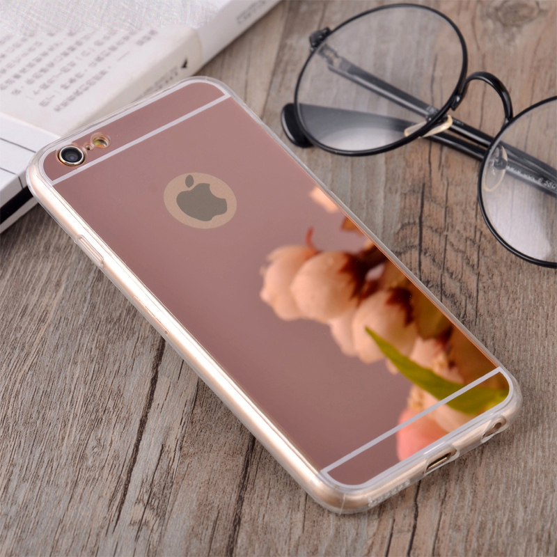Fashion Rose gold Luxury Mirror Soft Clear TPU Case For iPhone 7 Plus 6 6S 4.7inch for iPhone6 Plus 5.5/ SE 5S 5 4 4S Cover Back