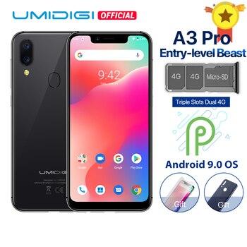 Перейти на Алиэкспресс и купить Смартфон UMIDIGI A3 Pro, Android 9.0, глобальный диапазон, 5,7-дюймовый полноэкранный 19:9 дисплей, 3 ГБ ОЗУ 32 ГБ ПЗУ, четыре ядра, 12 Мп+5 Мп, распознавание лиц...