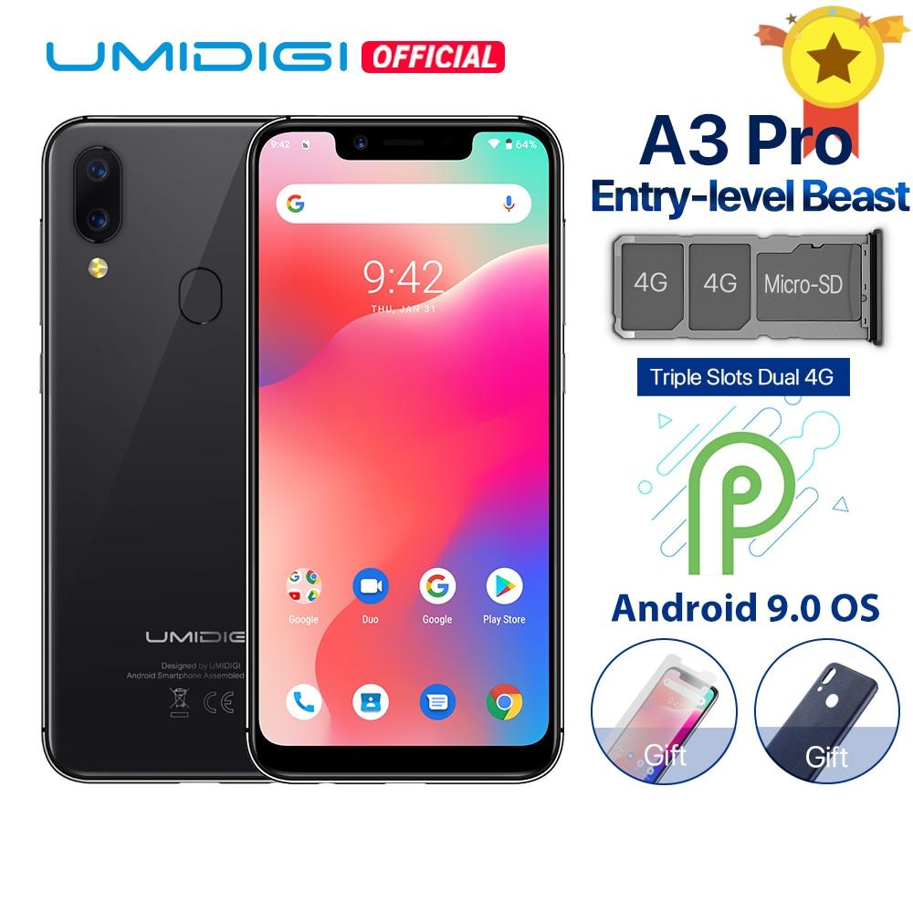 """Смартфон UMIDIGI A3 Pro Android 9,0 с полным экраном 5,7 """"19:9 3 ГБ ОЗУ 32 Гб ПЗУ четырехъядерный 12 Мп + 5 Мп разблокировка лица двойной 4G"""