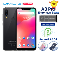 UMIDIGI A3 Pro Android 9.0 Global Band 5.719:9 FullScreen smartphone 3GB RAM 32GB ROM Quad core 12MP+5MP Face Unlock Dual 4G