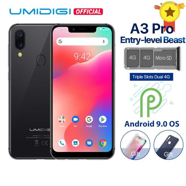 """UMIDIGI A3 Pro Android 9,0 Global banda 5,7 """"19:9 Pantalla Completa smartphone 3GB RAM 32GB ROM Quad core 12MP + 5MP desbloqueo de cara Dual 4G"""