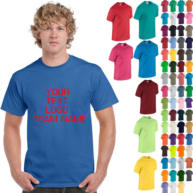 Custom Logo Print Free T Shirt O Neck Adult Men Women Cotton Short Sleeve T-Shirt 5.3oz Custom Personalized Print Free Shipping