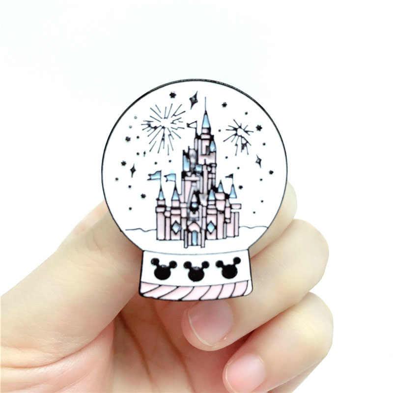 XEDZ Baru Bola Kristal Castle Bros Kembang Api Bros Anak Kartun Menyenangkan Mimpi Lencana Denim Pakaian Ransel Pendant Permata