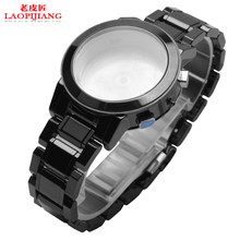 Laopijiang Ceramic watchband men and women fit BU9081 black ceramic bracelet watch with arc 20mm