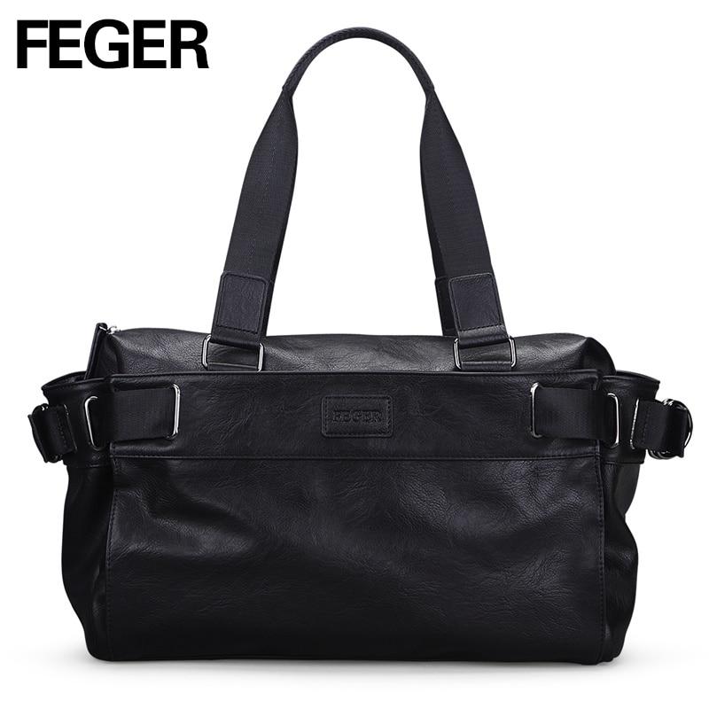 0e7c6dc637843 FEGER europejskiej american style torby na ramię mężczyzn biznes mężczyzna  torba weekendowa czarny PU torba podróżna Duffel dla linii lotniczych firmy
