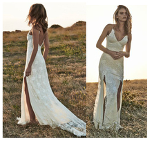 Spaghetti Straps Sexy Mermaid Bride Dress Lace Informal Wedding Dress 2019 Front Slit Backless High Quality Custom made blue suede lace up chest front slit hem spaghetti dress