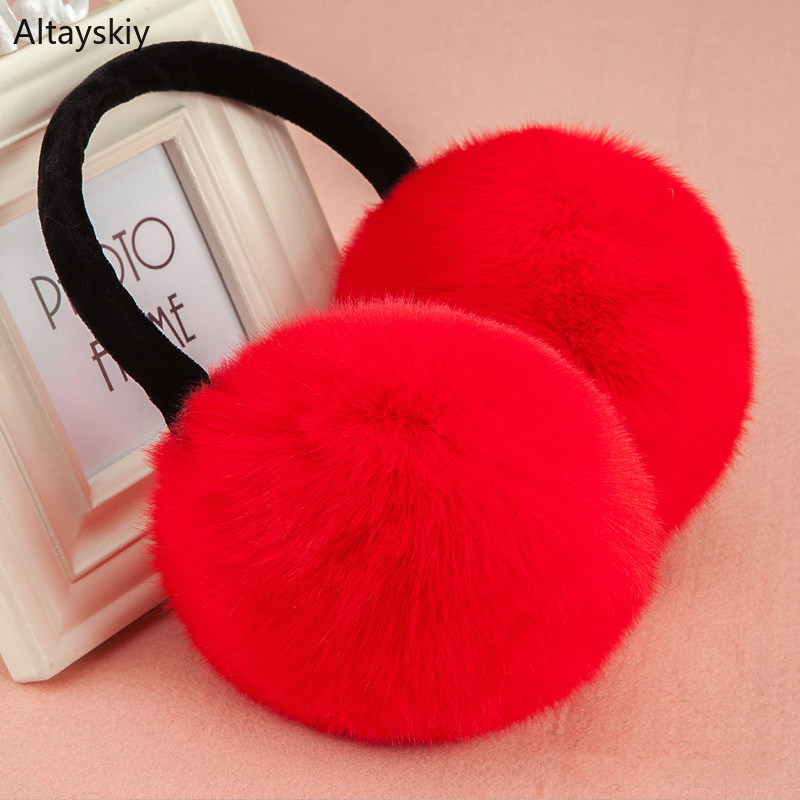 Earmuffs Women 2019 Solid Sweet Soft Plush Warm Winter Antifreeze  Womens Ear Korean Style All-match Simple Casual Earmuff Daily