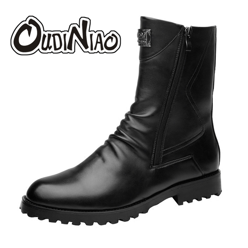 OUDINIAO Men Boots Fashion Zip Ankle Boots Fashion Fold Military Snow Boots Pointed Toe Casual Boots Vintage Winter Autumn Shoes