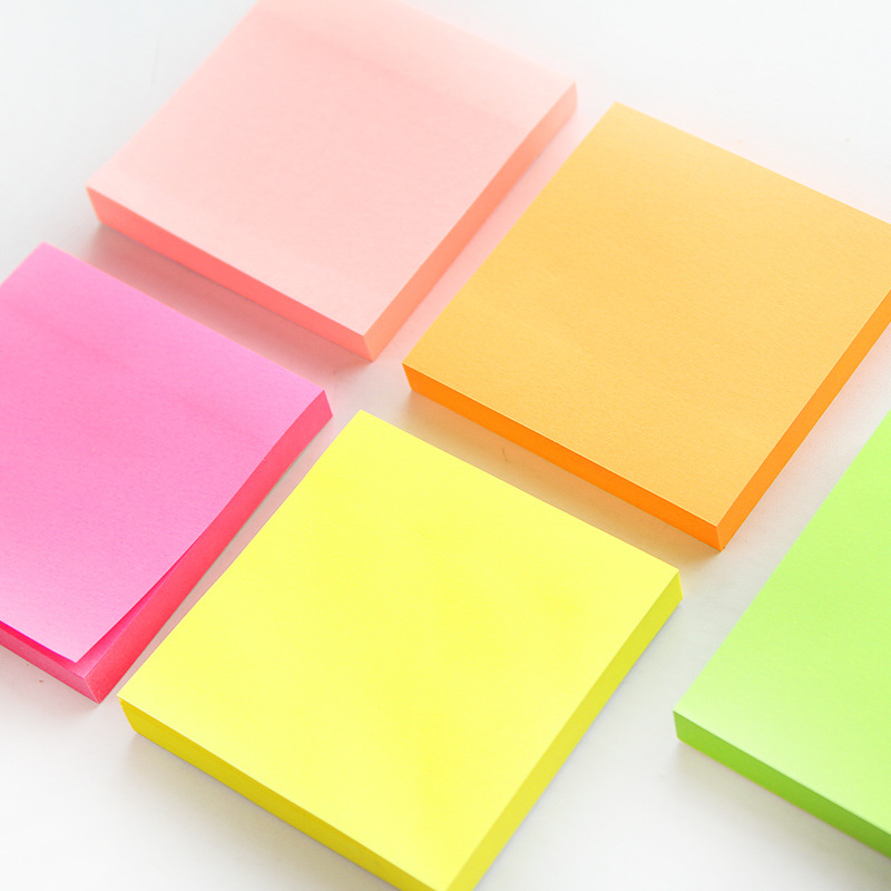 100 Sheets Fluorescence Color Sticky Note Mini Post Portable Adhesive Paper Memo Pad Note It Stationery Office Supplies FM971
