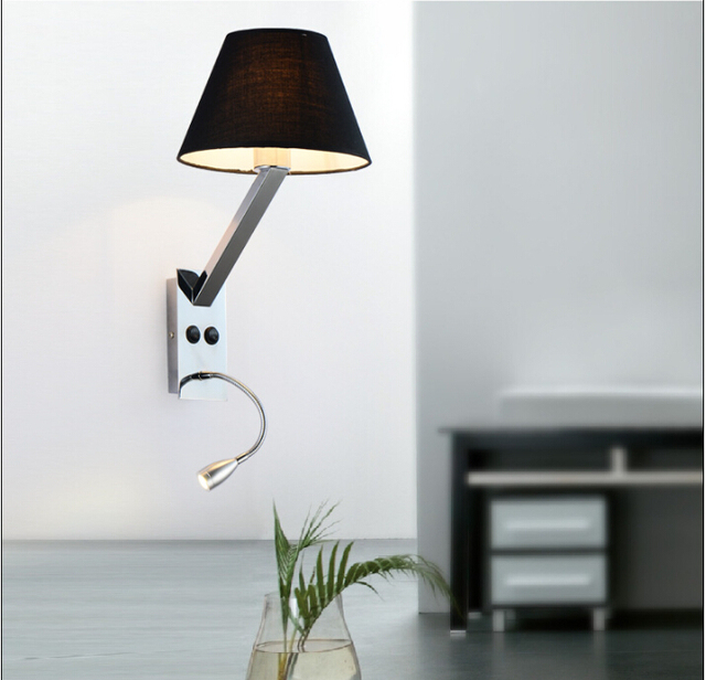 Modern Wall Lamp With Switch Fabric Led Bedside Bedroom Cozy Hotel Iron