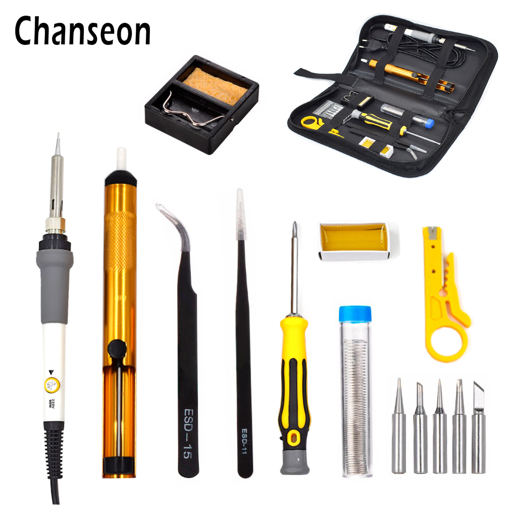 Enchufe de la UE 60W Kit de hierro de soldadura eléctrica de temperatura ajustable Conjuntos de herramientas manuales multifuncionales Herramientas de reparación de soldadura de alambre de soldadura
