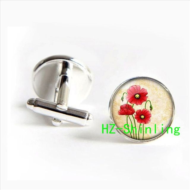 Poppy Jewelry Red Flowers Cufflinks Art In Silver Glass Cabochon