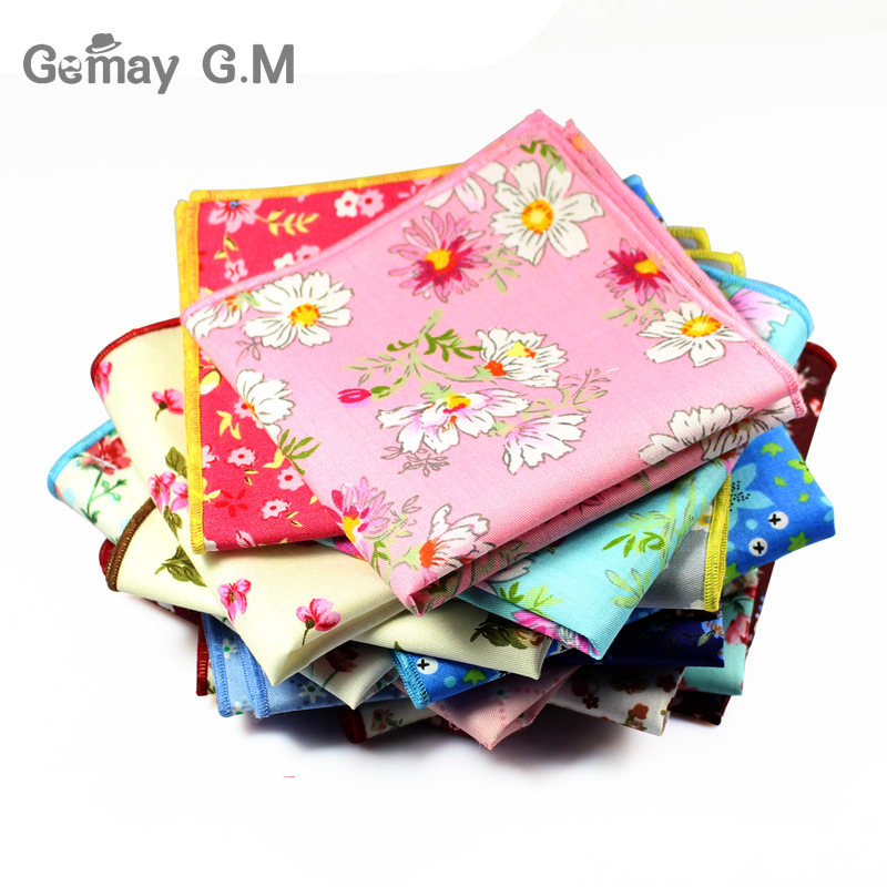 Fesyen Handkerchiefs Cotton Cetak Floral Hanky ​​Flower Pocket Square Mens Kasual Square Poket Handkerchief Tuala