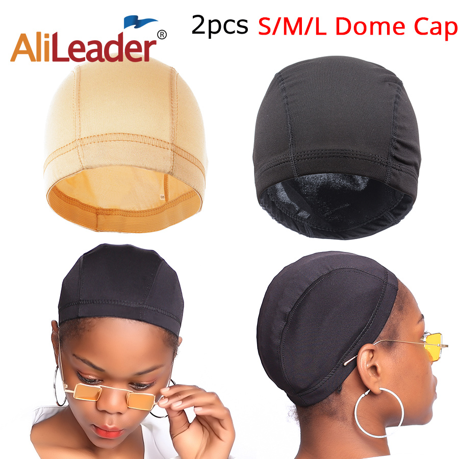 Alileader 2Pcs Spandex Wig Cap With Elastic Band Hair Net Dome Cap Black Blonde Weave Cap Small Large Wig Cap For Making A Wig