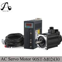90ST M02430 220V 750W AC Servo motor 3000RPM 2.4 N.M. 0.75KW servomotor Single Phase ac drive permanent magnet Matched Driver