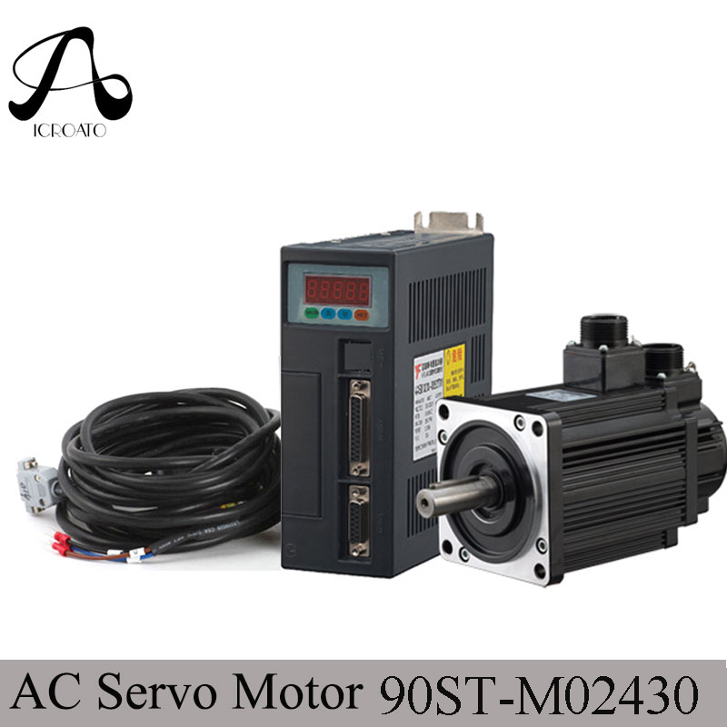 цена на 90ST-M02430 220V 750W AC Servo motor 3000RPM 2.4 N.M. 0.75KW servomotor Single-Phase ac drive permanent magnet Matched Driver