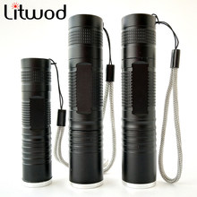 Litwod Z90S5 XML L2 T6 Q5 Led Flashlight Zoomable Waterproof Zoom Flashlight Camping Hiking use 18650 Led flash light(China)