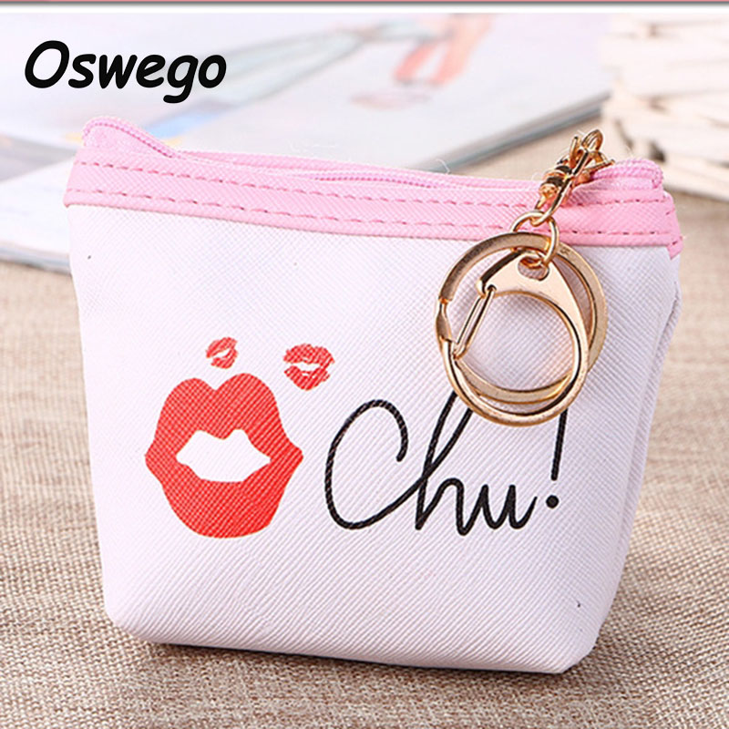 Fashion Sexy Red Lips Oxford Cloth Women Coin Purse Mini Wallets Ladies Cash Purse Bags Pouch Zipper with Key Ring for Teenagers new cute hello kitty handbag pink red girls purse cartoon cat coin bag ladies keychain wallets zipper key holder cash case