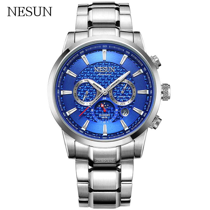NESUN Fashion Men Automatic Mechanical Wristwatches 50M Waterproof Luxury Sapphire Sports Watches Male Relogio Masculino Clocks loreo black genuine leather 200m diving military mechanical luxury men sports watches fashion automatic wristwatches male