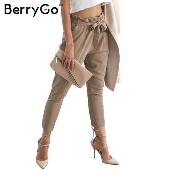 Stringy sell edge chiffon high waist harem pants