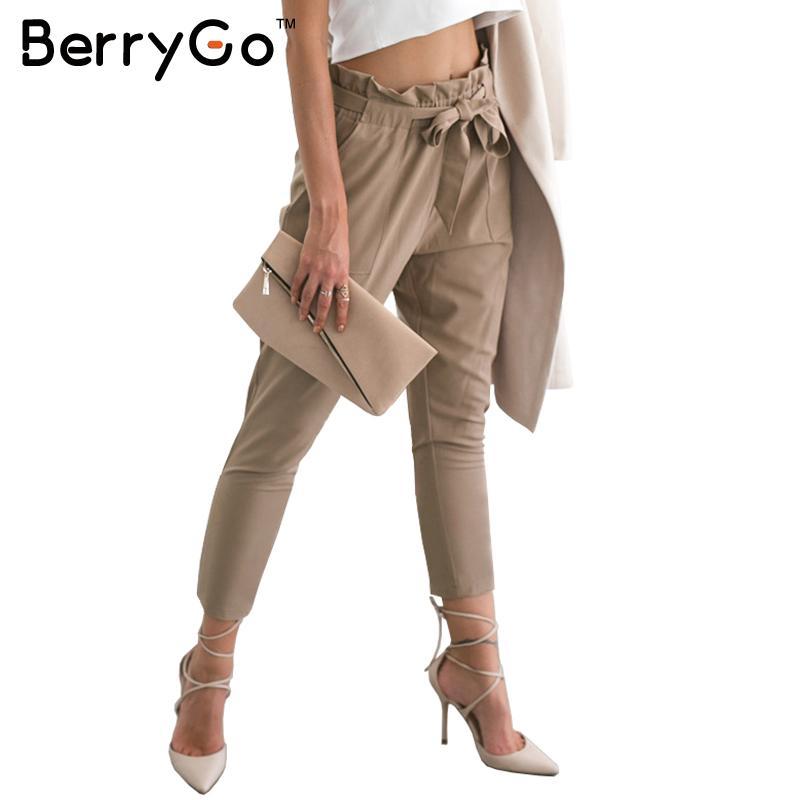 BerryGo Stringyselvedge шифоновые шаровары с высокой талией женские Летние Стильные Длинные повседневные брюки женские офисные женские черные брюки