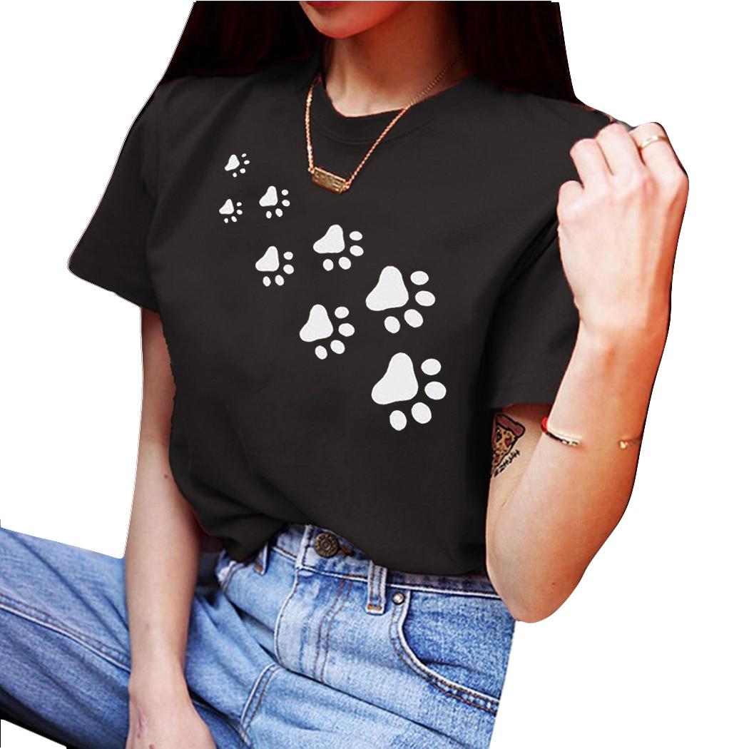 Hell Lustige Hund Fuß Druck T Shirt Frauen Sommer Harajuku Tops Kurzarm T-shirt Oansatz T-shirt Damen Schwarz Grau Weiß Tee Hemd Erfrischend Und Wohltuend FüR Die Augen