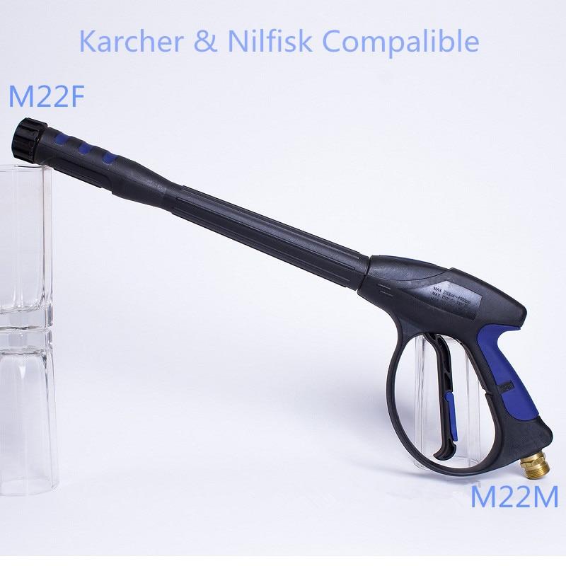 Pressure Washer Jet Wash Gun Lance M22 Rear Inlet Karcher & Nilfisk Compatible