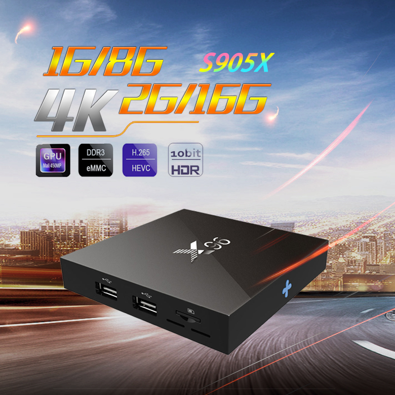 2GB/16GB Amlogic S905X X96 Android TV BOX 1GB/8GB Quad Coretex A53  Set Top Box H.265 10bit HDMI 2.0 WIFi pk A95X