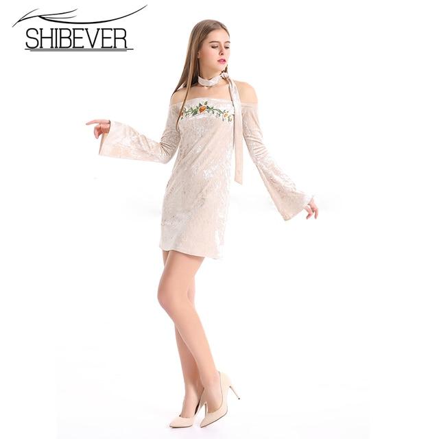 2361325bda SHIBEVER-Women-Summer-Sexy-Velvet-Embroidered-Dresses-Party-Slash-Neck -Off-Shoulder-Horn-Long-Sleeve-Elegant.jpg 640x640.jpg