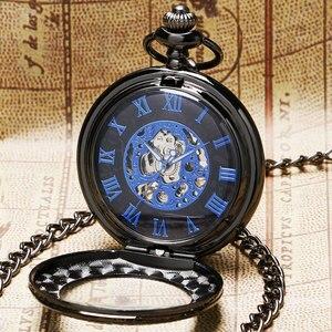 Image 5 - Retro Zwart Patroon Glas Case Design Met Blue Skeleton Dial Mechanische Zakhorloge Met Ketting Cadeau Aan Mannen Vrouwen