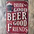 Drink Good Beer Vintage Craft Tin Sign Retro Metal Painting Antique Iron Poster Bar Pub Signs Wall Art Sticker 20x30CM