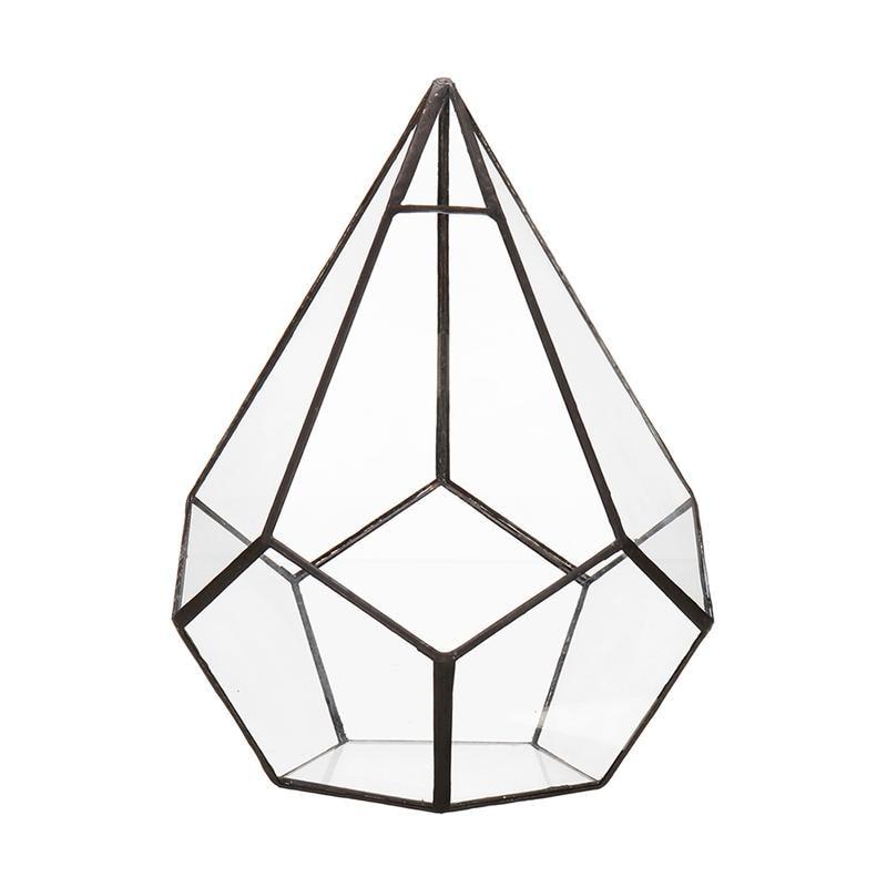Winomo Diamond Design Glass Geometric Terrarium Succulents Cactus
