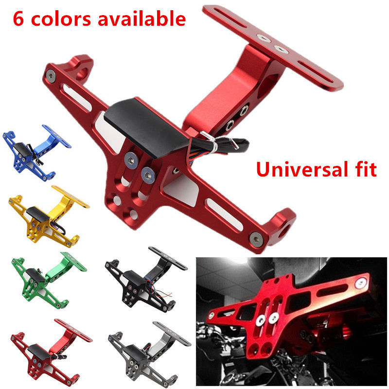 цена на Triclicks Alloy CNC Motorcycle Adjustable License Number Plate Frame Holder Bracket Mount For Honda Yamaha Suzuki Kawasaki BMW