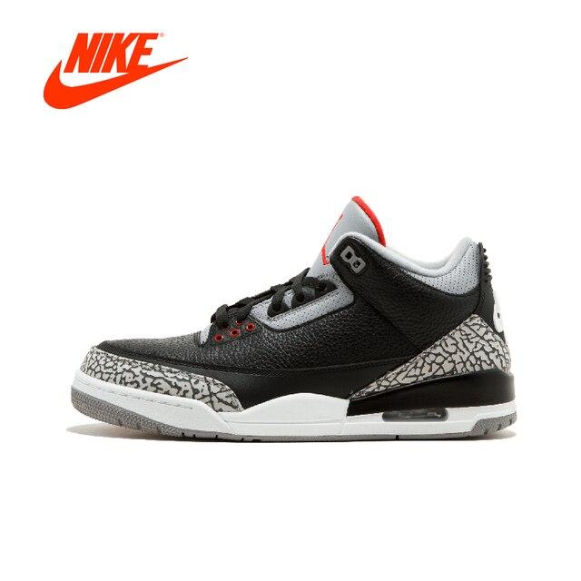 new arrival 5798d 92254 ... wholesale official original nike air jordan 3 black cement aj 3 retro  og mens basketball shoes