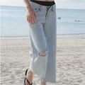 Plus Size Loose High Waist Jeans Women 2016 Spring Summer Korean Fashion Ankle-Length Denim Pants Casual Hole Wide Leg Trousers