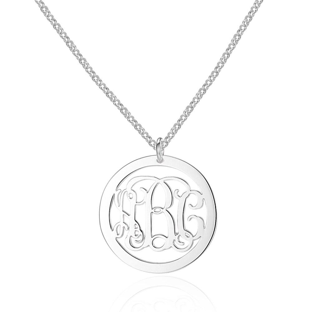 Personalisierte 925 Sterling Silber Monogramm Anhänger Halskette 3 Namen Gravieren DIY Bester Freund Geschenk Schmuck (NE101561)