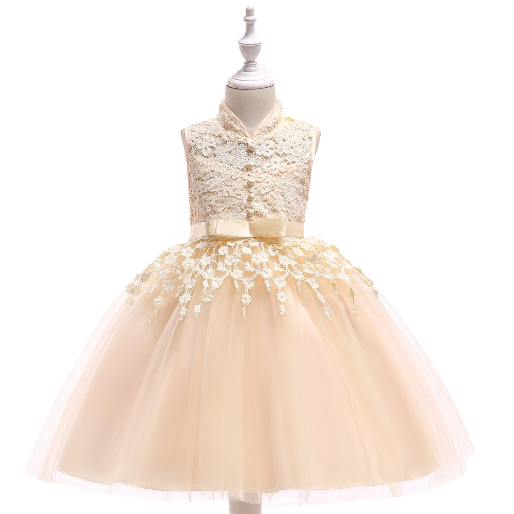 Champagne Short   Flower     Girls     Dress   For Wedding High Neck   Flowers   Little   Girls   Pageant Wedding Party Little Bride   Dresses