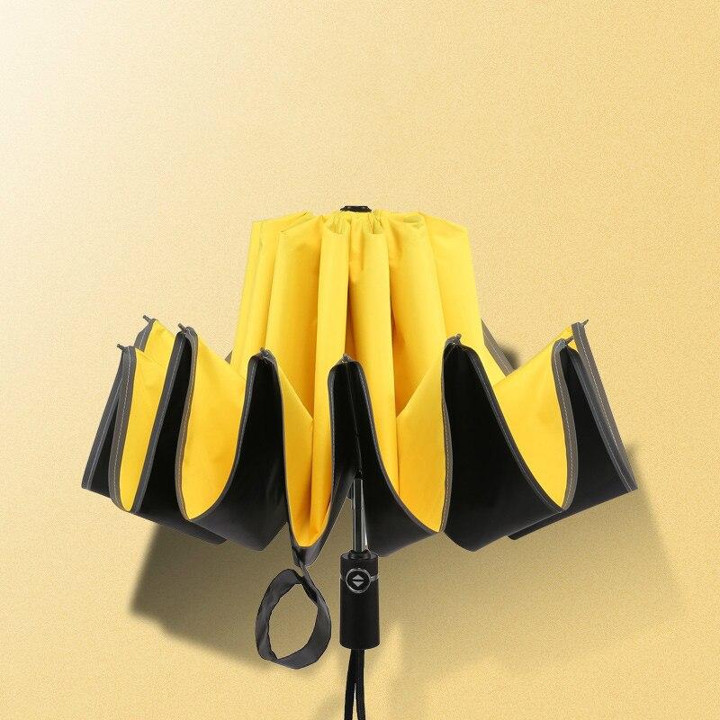 Parapluie inversé pliant automatique revêtement noir femmes pluie soleil UV Parasol inversé voyage voiture utilisation hommes coupe-vent parapluies MiniX