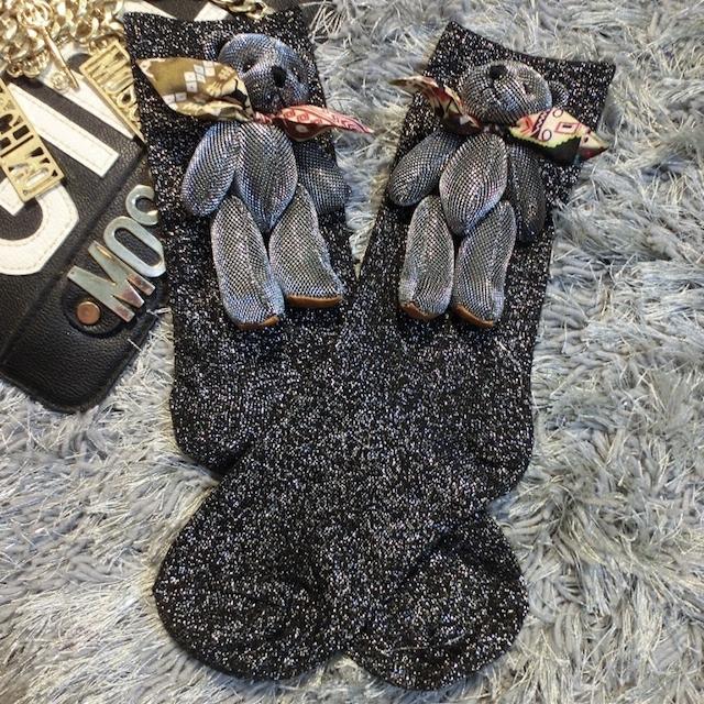 2016 Calcetines de La Manera Hecha A Mano de Encargo Nueva Multicolor Lindo Muñeco de Peluche Modelos Venta Tubo Corto Montones De Calcetines de Seda Brillante de Las Mujeres